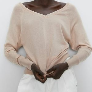 💖SALE💖 Zara Lace Trim V-Neck Sweater in Blush